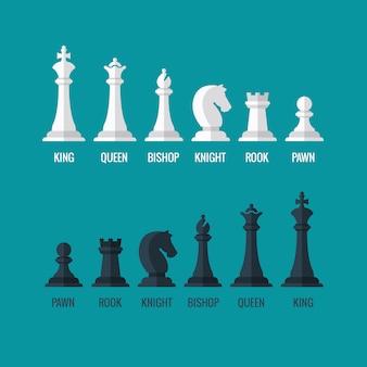 Peças de xadrez rei rainha bispo cavaleiro torre peão conjunto de ícones plana