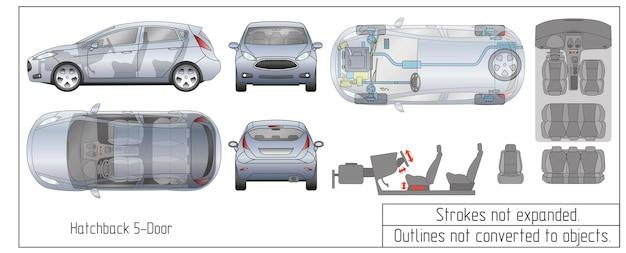 Peças do interior do carro hatchback assentos do motor esboços do projeto do painel