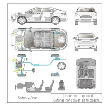 Peças do interior do carro sedan, motor dos assentos do painel, contornos de desenho não convertidos em objetos