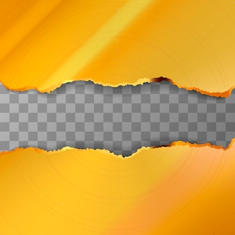 Peças douradas rasgadas em metal transparente