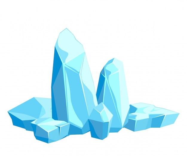 Peças e cristais de gelo, icebergs para design e decoração