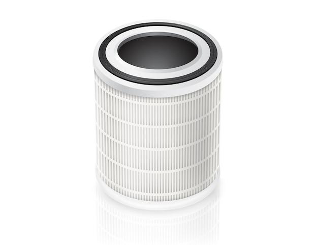 Peças sobressalentes cilíndricas do filtro de ar isoladas no fundo branco