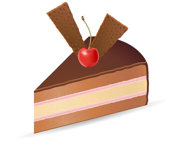 Pedaço de bolo de chocolate com ilustração vetorial de cerejas