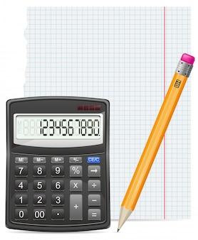 Pedaço de calculadora de ilustração vetorial papel e lápis