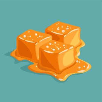 Pedaço de caramelo salgado isolado