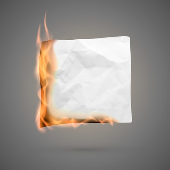 Pedaço de papel amassado em chamas com espaço de cópia. em branco de papel amassado. textura de papel vincada no fogo.