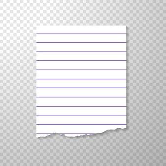 Pedaço de papel rasgado alinhado do caderno.