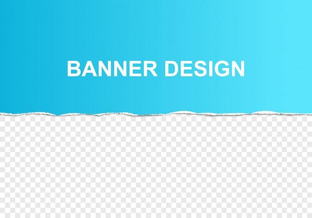 Pedaço de papel rasgado gradiente azul com bordas rasgadas