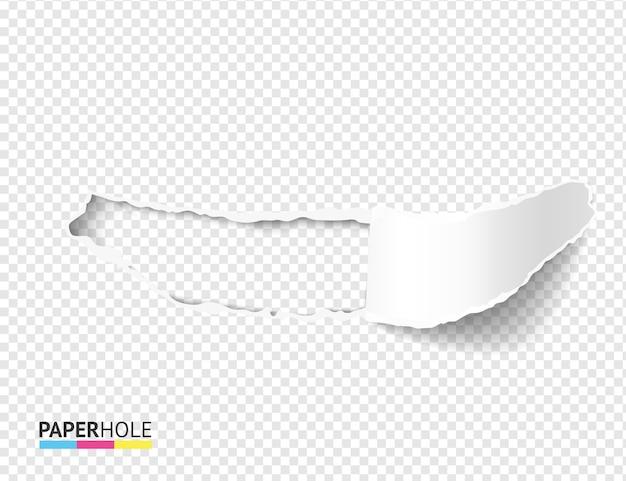 Pedaço de papel rasgado realista vazio com orifícios rasgados