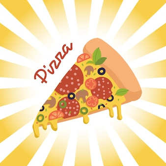 Pedaço de pizzaon fundo radial retrô com letras.