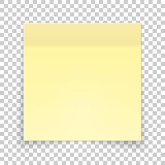 Pedaço pegajoso de papel amarelo, nota da etiqueta.