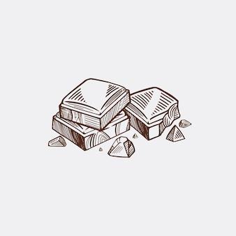 Pedaços de barra de chocolate preto e branco. fundo isolado do esboço do vetor.
