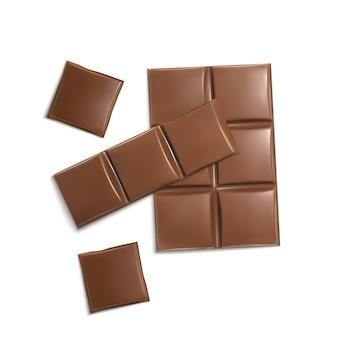 Pedaços de chocolate 3d realistas. marrom deliciosas barras para embalagem mock up, modelo de pacote