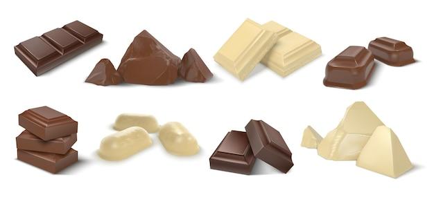 Pedaços de chocolate. barras e doces realistas de chocolate ao leite e branco escuro, pedaço de sobremesa de cacau