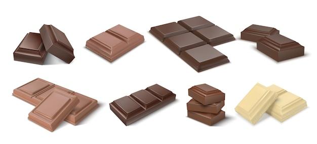 Pedaços de chocolate. barras escuras realistas e pedaços de chocolate com leite, blocos em 3d de sobremesa de cacau