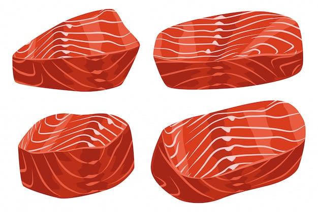 Pedaços de filé de salmão cru conjunto de desenhos animados de vetor isolado.