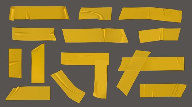 Pedaços de fita adesiva amarela