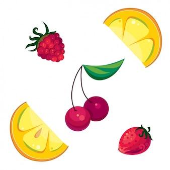 Pedaços de frutas coloridas definir