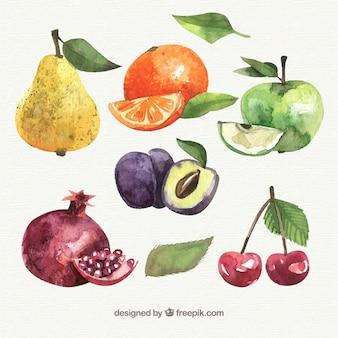 Pedaços de frutas coloridas