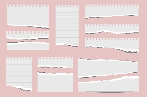 Pedaços de papel papéis rasgados pedaços de páginas rasgadas e notas de álbum de recortes pedaço de papel pedaços de papel realistas