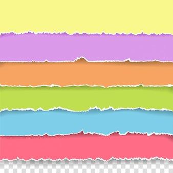 Pedaços de papel rasgado com espaço de cópia