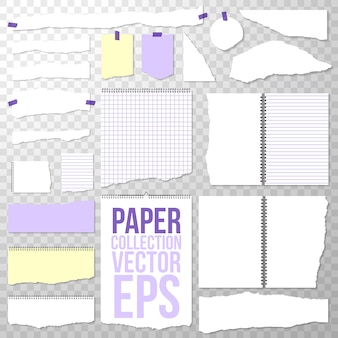 Pedaços de papel rasgado do caderno encadernado em espiral. páginas limpas ou em branco, isoladas em transparente. papéis de fichário rasgados