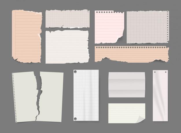 Pedaços de papel rasgado e conjunto de nota de scrapbook.