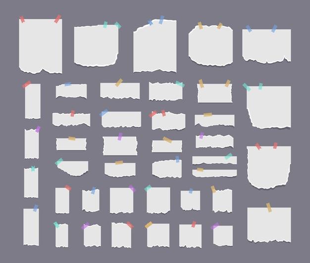 Pedaços de papel realistas com bordas rasgadas nota branca rasgada
