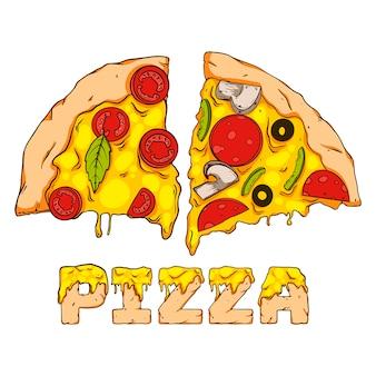 Pedaços de pizza, desenhados à mão. ilustração em vetor suculento.