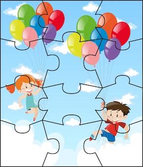 Pedaços de serra com crianças que voam balões