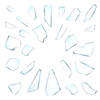 Pedaços de vidro quebrado. vidro quebrado no fundo branco. ilustração realista