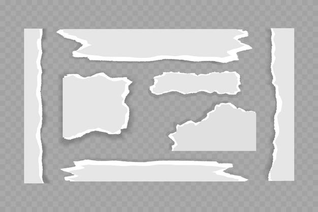 Pedaços rasgados de papel branco e cinza com sombra suave estão em um fundo cinza quadrado para texto. ilustração vetorial