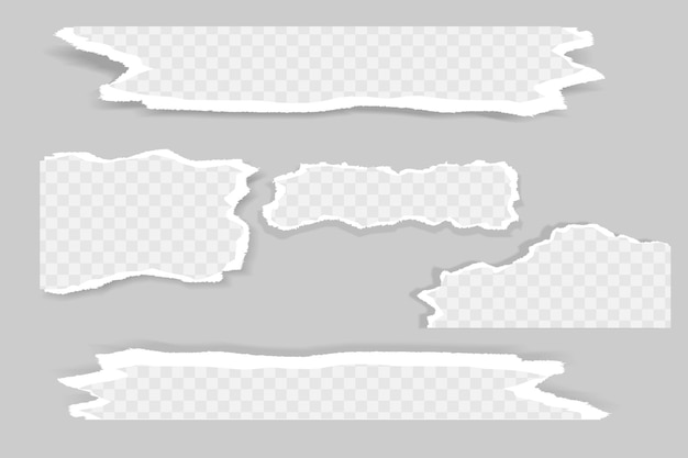 Pedaços rasgados de papel branco e cinza com sombra suave.