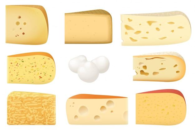 Pedaços triangulares de queijo diferente
