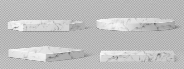 Pedestais ou pódio de mármore, palcos de museu vazios geométricos abstratos, exposições de pedras para cerimônia de premiação ou apresentação de produtos