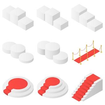 Pedestais para prêmios, pódios e o conjunto de tapetes vermelhos