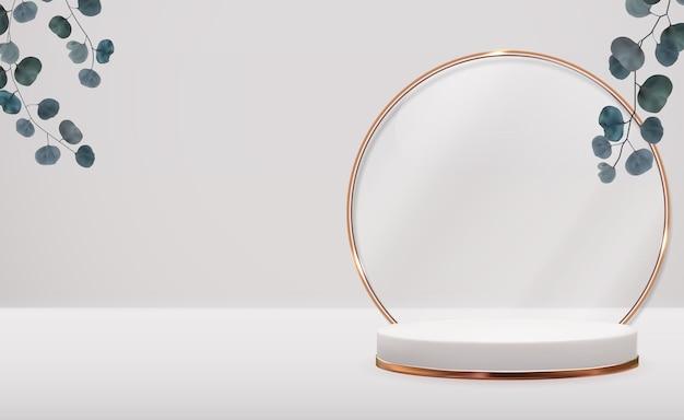 Pedestal 3d realista com anel dourado e folhas de eucalipto