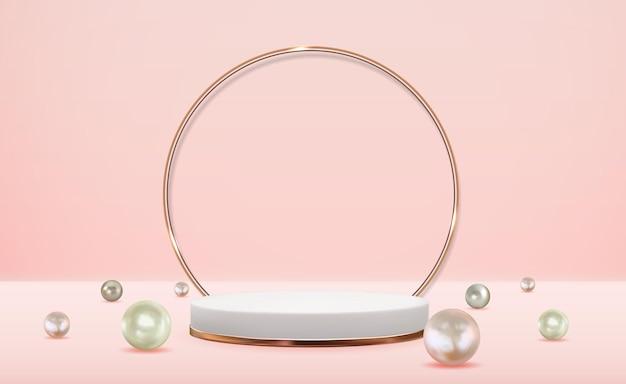 Pedestal 3d realista com fundo de anel de vidro dourado