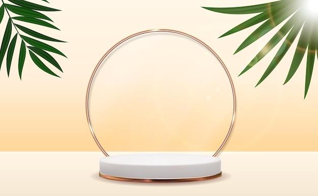 Pedestal 3d realista sobre fundo ensolarado com folha de palmeira.