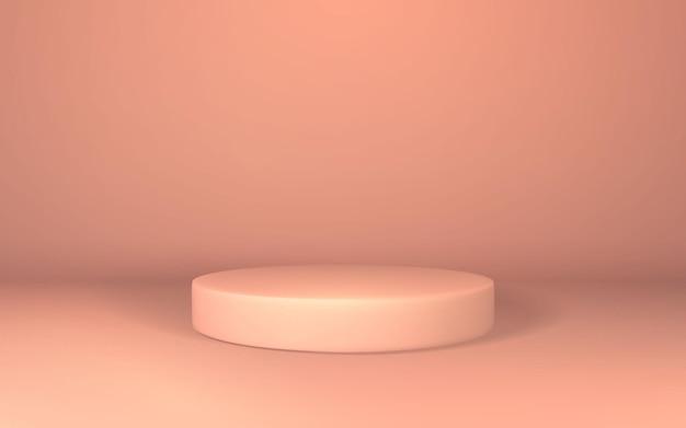 Pedestal 3d rosa. exibição de pódio na sala vazia. palco para produto no pódio do cilindro.