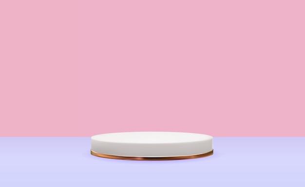 Pedestal branco 3d realista com anel de ouro