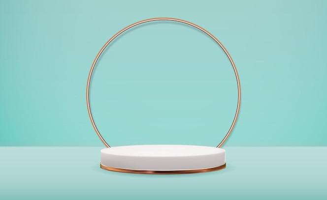 Pedestal branco 3d realista com moldura de anel de ouro
