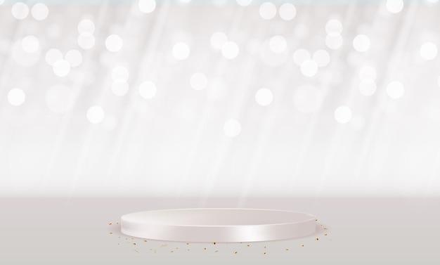Pedestal branco 3d realista sobre fundo natural pastel claro. visor moderno de pódio vazio para apresentação de produtos cosméticos, revista de moda. copiar ilustração vetorial de espaço