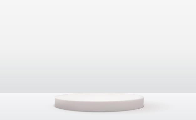 Pedestal branco 3d realista sobre fundo natural pastel claro. visor moderno de pódio vazio