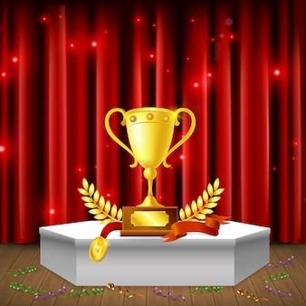 Pedestal branco com serpentinas de prêmios na composição realista de piso em fundo de cortina vermelha cintilante