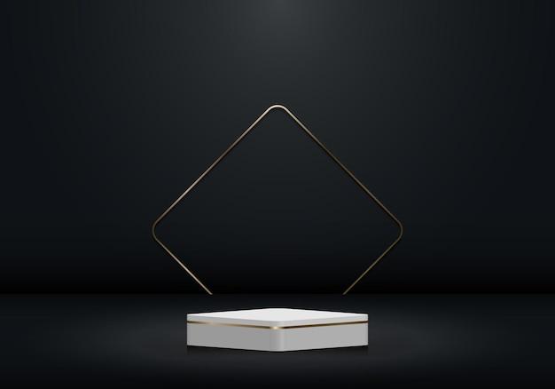 Pedestal branco e dourado 3d realista e pano de fundo com borda quadrada dourada em um quarto preto vazio