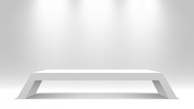 Pedestal branco. ficar de pé. escrivaninha. pódio. ilustração.