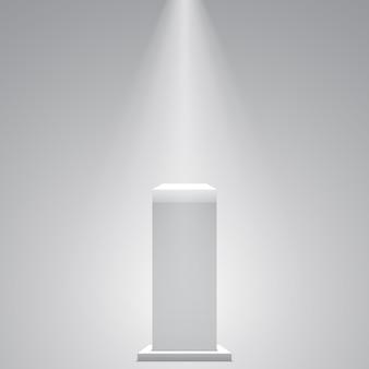 Pedestal branco. ficar de pé. tribuna. .