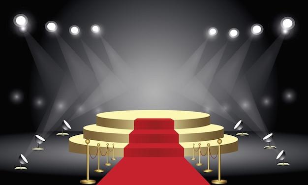 Pedestal com tapete vermelho para a cerimônia de premiação