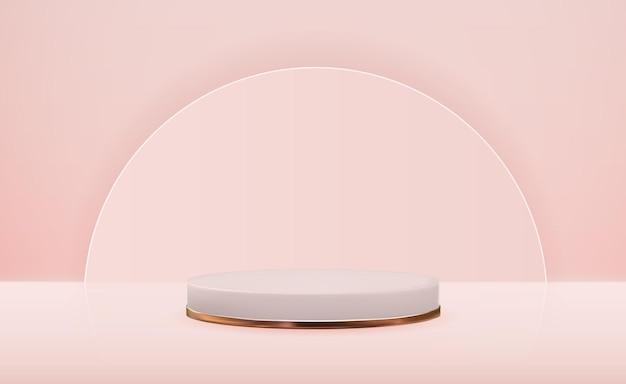Pedestal d realista com anel dourado. visor moderno de pódio vazio